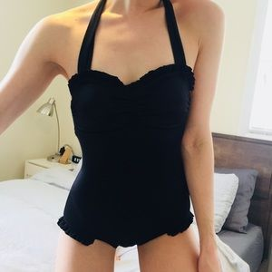 Black Ruffle One Piece Pin Up Style Swimsuit | S